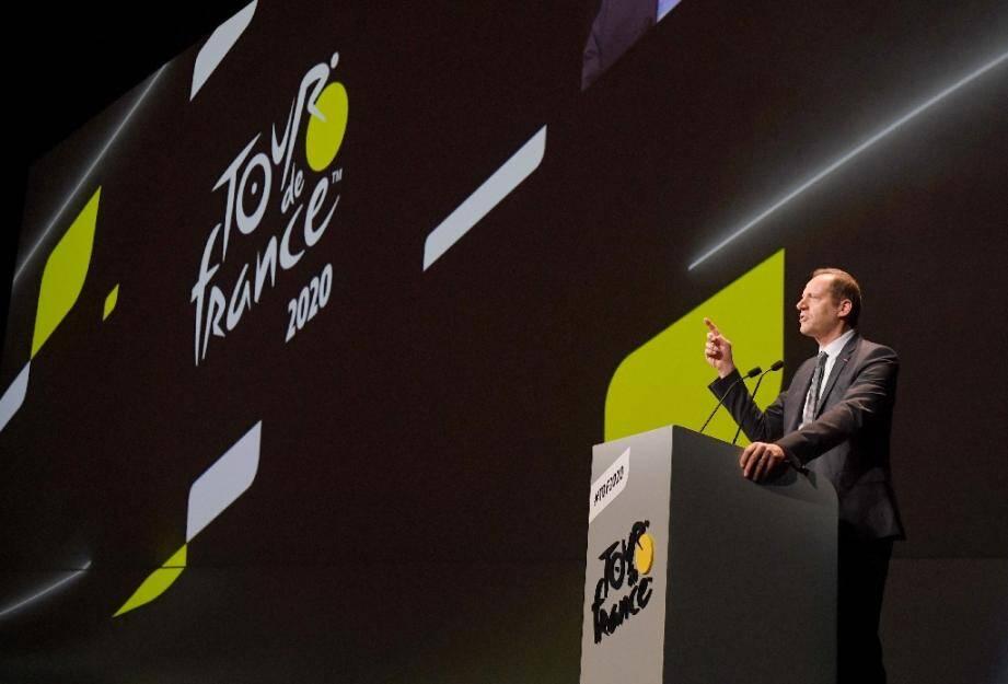 Le directeur du Tour de France Christian Prudhomme lors de la présentation officielle de l'édition de 2020, le 15 octobre 2019 à Paris