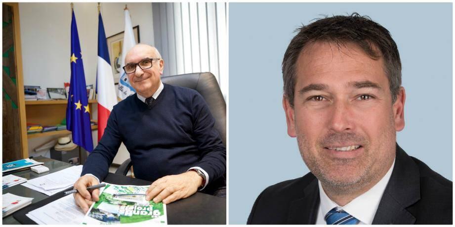 Charles Scibetta, le maire sortant de Carros et Yannick Bernard qui siège dans l'opposition depuis six ans.