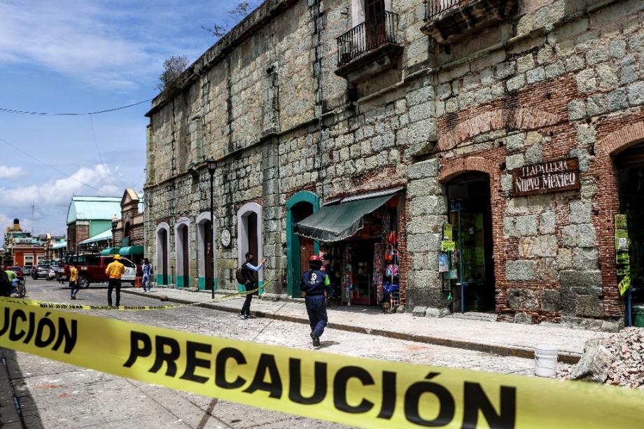 Un immeuble endommagé par le séisme à Oaxaca, dans le sud du Mexique, le 23 juin 2020.