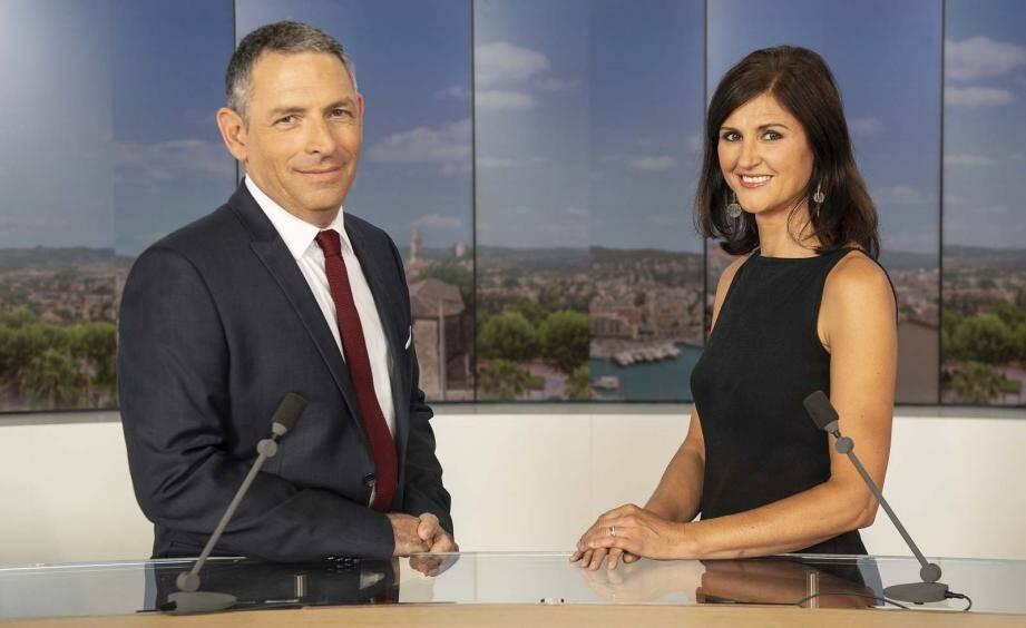 Jacqueline Pozzi et Olivier Orsini, présentateurs des journaux régionaux de France 3 Côte d'Azur.