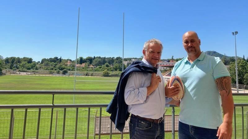 """(De gauche à droite) Denis Galtier et Aymeric Portalier. """"Teammo a failli s'appeler Rugby Habitat mais comme le rugby n'a pas l'exclusivité des valeurs sportives, c'est devenu Teammo"""", explique Denis Galtier."""