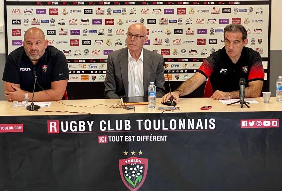 Bernard Lemaître, président du RCT, Patrice Collazo, manager général et Laurent Emmanuelli, directeur de la politique sportive, ont présenté les objectifs.