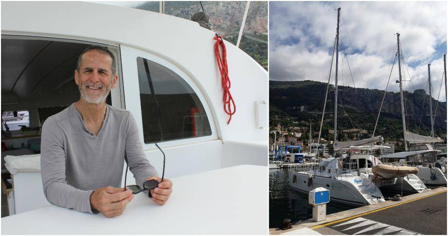 Le bateau de Jean-Luc Guitard est amarré au port de Garavan. Tout au bout du ponton sud, là où sont regroupés les catamarans.