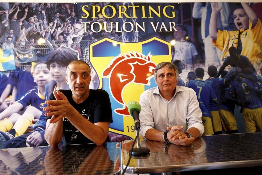 Conférence de presse de Mourad Boudjellal et Claude Joye sur la reprise du Sporting Club de Toulon.