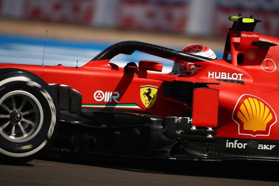 Le Monégasque Charles Leclerc (Ferrari), lors des 1ers essais libres du GP de Grande-Bretagnes à Silverstone, le 31 juillet, 2020.