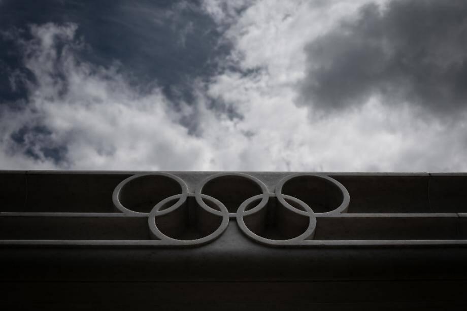 Les anneaux olympiques, à Lausanne le 8 juin 2020.