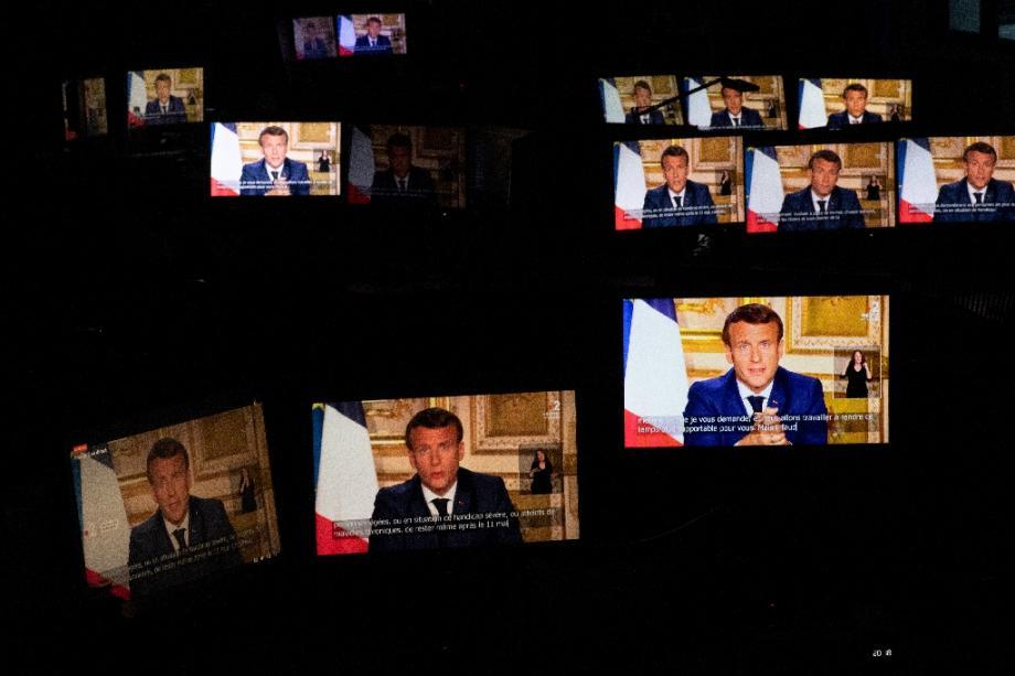 Une des précédentes allocutions télévisées d'Emmanuel Macron, le 13 avril 2020, depuis l'Elysée à Paris
