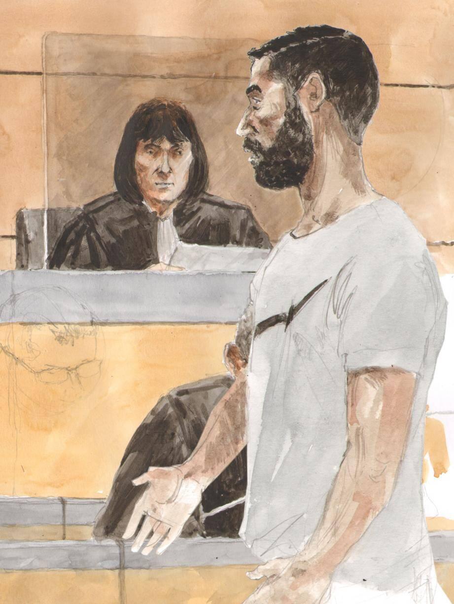 L'avocate générale, Mme Félix, avait requis vingt-cinq ans contre Islam Ben Abdallah, le clandestin tunisien qui a demandé le pardon de sa victime. (Croquis d'audience Rémi Kerfridin)