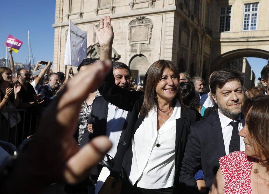 L'arrivée de Michèle Rubirola, hier, juste avant son élection.