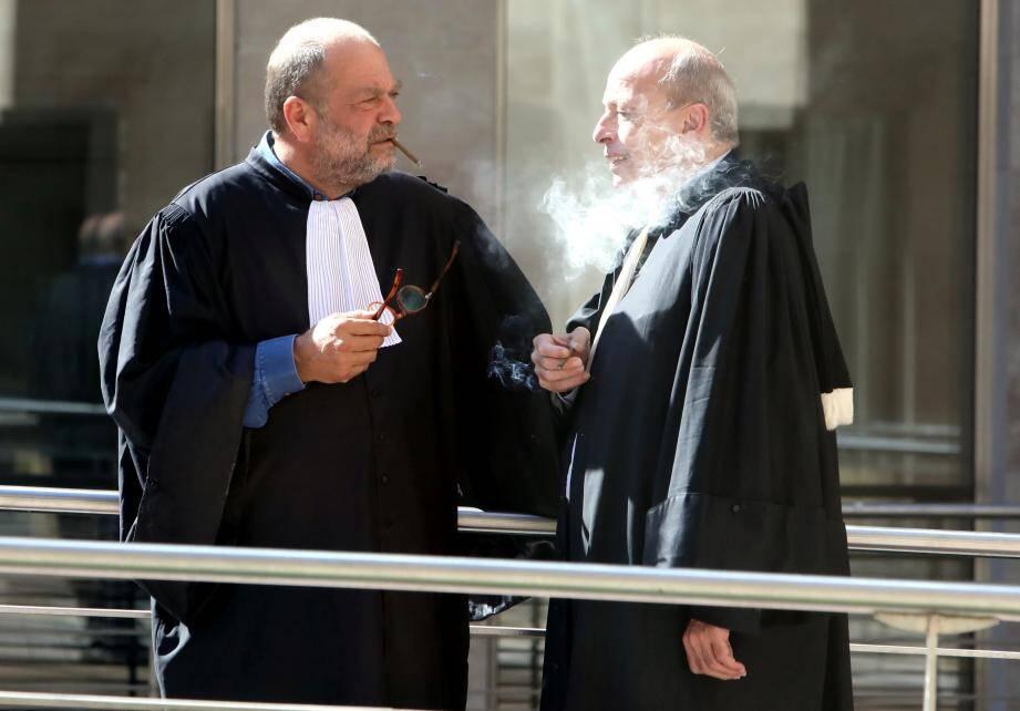 Me Dupond-Moretti (à gauche) à l'occasion du procès des assassins présumés de la milliardaire monégasque Jacqueline Pastor.