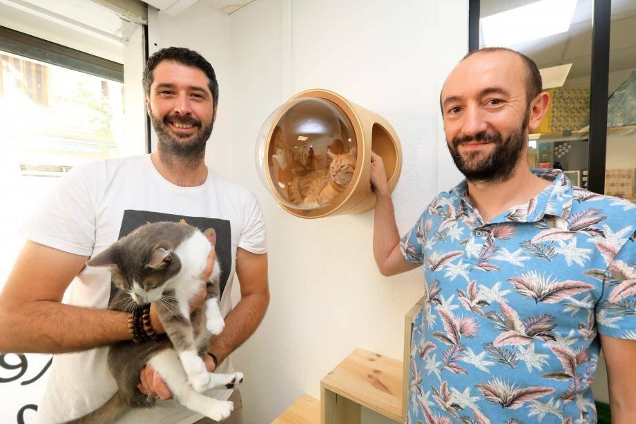 Benoît et Julien sont à la tête de cette pension pour chats, le temps de vos vacances.