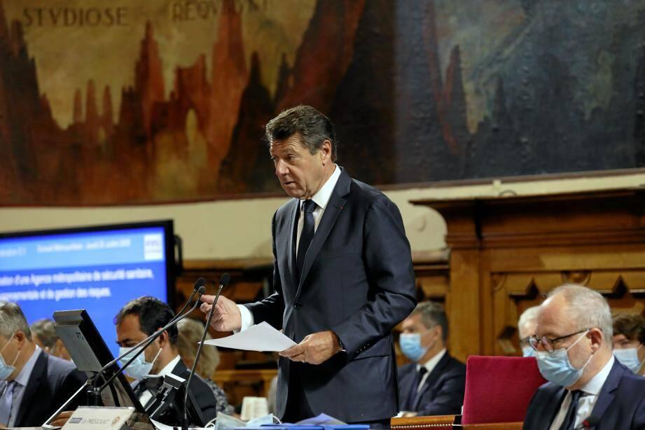Christian Estrosi jeudi en conseil métropolitain.