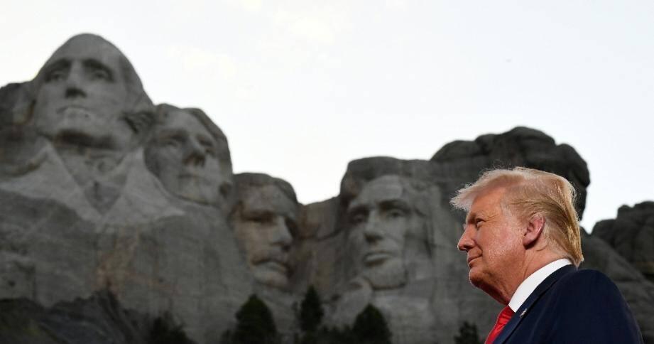 Le président américain Donald Trump en déplacement à Mount Rushmore le 3 juillet 2020 pour les célébrations de la fête nationale.