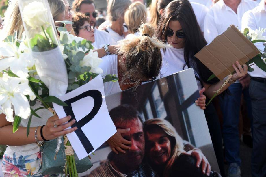 Véronique Monguillot, lors d'une marche blanche après l'agression de son mari, le 8 juillet 2020 à Bayonne