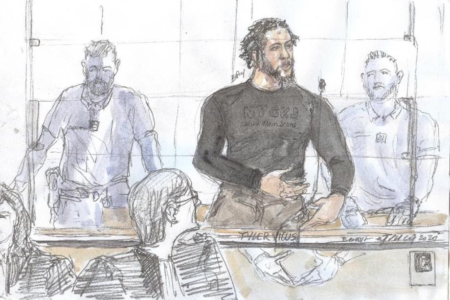 Dessin de presse représentant Tyler Vilus, lors de son procès aux assises de Paris, le 25 juin 2020