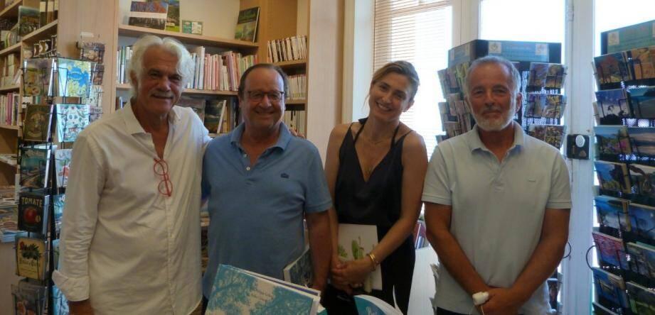 L'ancien président et sa compagne ont été reçus au Domaine du Rayol-Canadel par André Delmonte (à gauche) et Olivier Arnaud.
