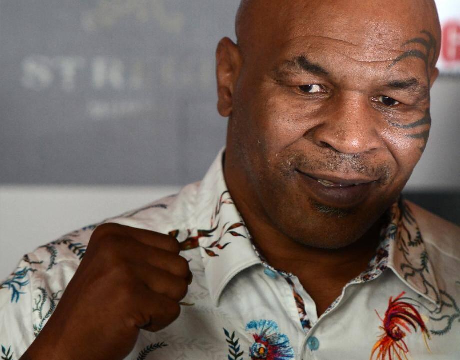 Mike Tyson lors d'une conférence de presse, le 28 septembe 2018 à Bombay, en Inde.