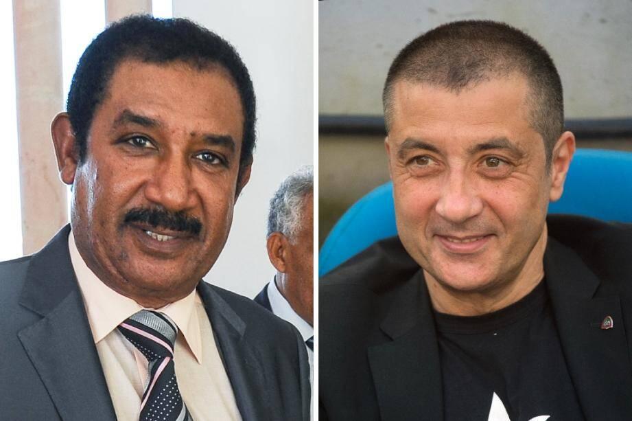 L'homme d'affaires franco-tunisien Mohamed Ayachi Ajroudi (à gauche) le 28 octobre 2013, à Tunis, et de l'ancien patron du RC Toulon Mourad Boudjellal le 9 avril 2017 à Marseille