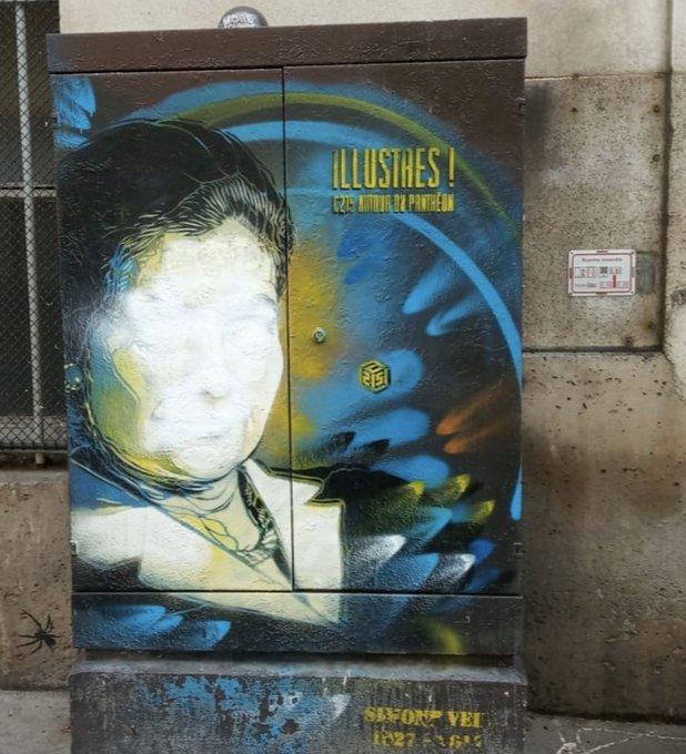 Le portrait de la Niçoise Simone Veil, graphé par l'artiste C215, rue d'Ulm à Paris.
