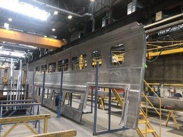 """Le futur TGV """"M"""" est en construction à l'usine Astom de La Rochelle."""