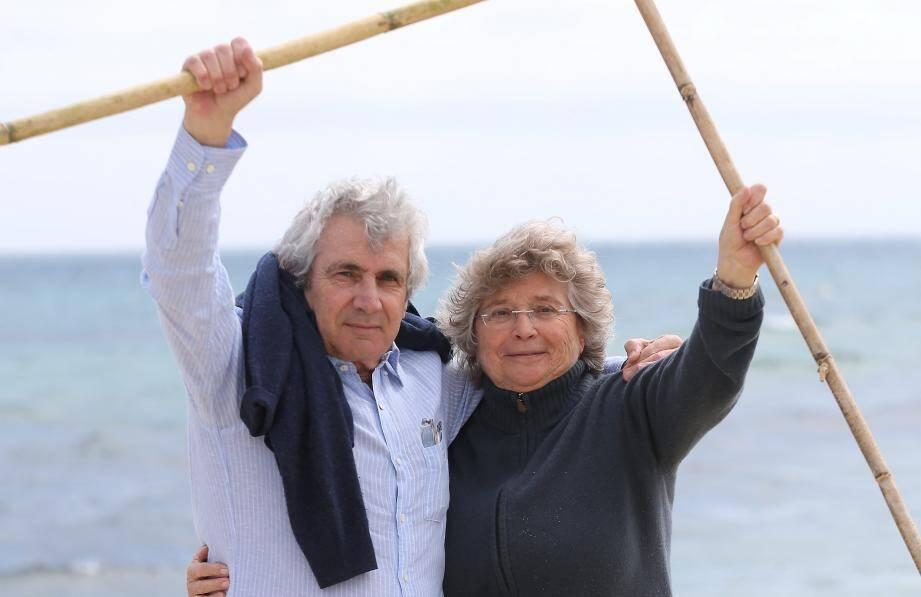 Jacqueline Franjou avec Michel Boujenah, qui en 2007, a succédé à Jean-Claude Brialy au poste de directeur artistique du festival de Ramatuelle.