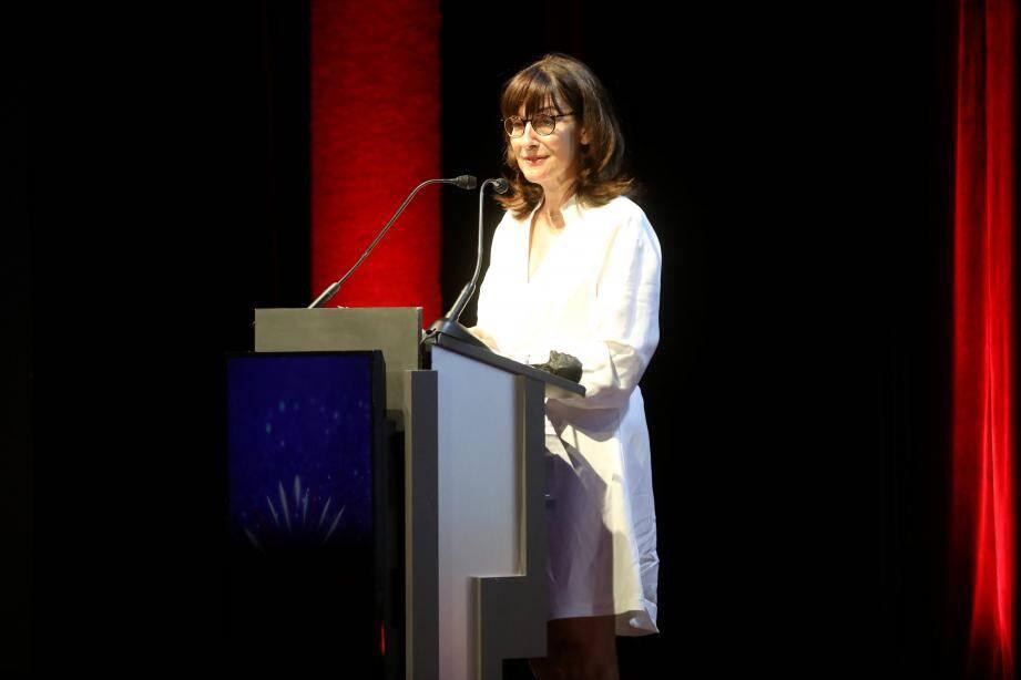 Ici sur scène pour la célébration privée des 20 ans du Grimaldi Forum, Sylvie Biancheri, directeur général, est là depuis le début de l'aventure.
