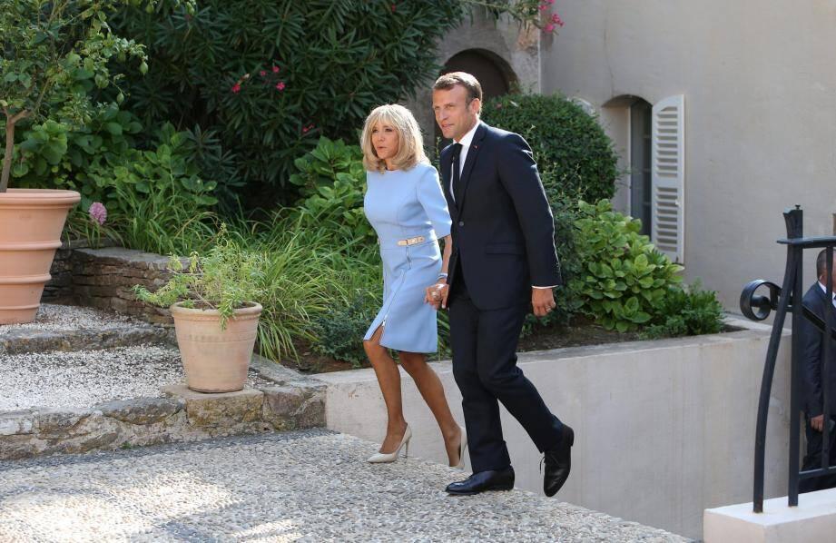 Brigitte et Emmanuel Macron au fort de Brégançon, dans le Var, en août 2019.