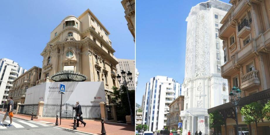 Déjà fermé au public, le siège d'UBS Monaco devrait se draper d'une impressionnante enveloppe en verre.