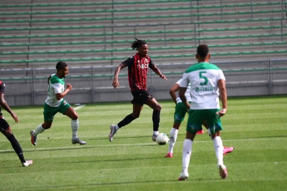 Lors de Saint-Etienne-Nice en match amical de préparation pour la saison 2020-2021.