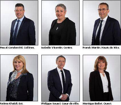 Six adjoints pour six territoires.