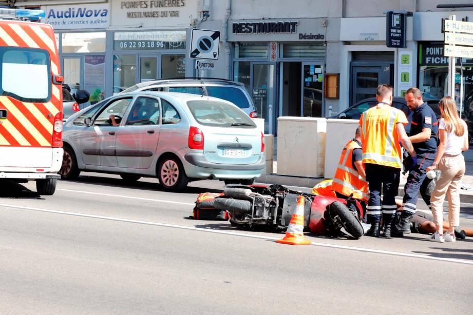 Un accident impliquant un deux-roues boulevard Clemenceau à Toulon cette semaine.