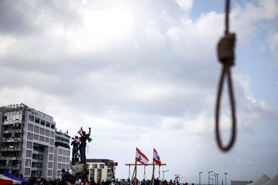 Un gibet mis en place par des manifestants lors d'une manifestation antigouvernementale, le 8 août 2020 à Beyrouth