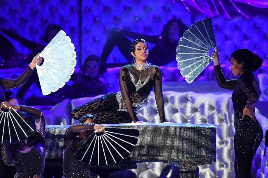 Cardi B sur scène lors de la cérémonie des Grammys, le 10 février 2019 à Los Angeles