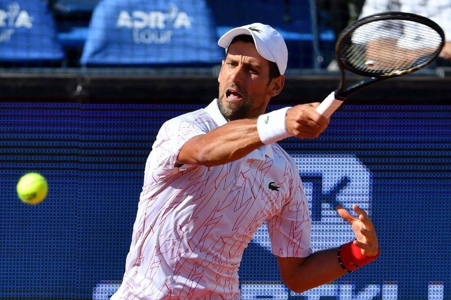 Le Serbe Novak Djokovic lors d'un tournoi caritatif à Belgrade, le 14 juin 2020