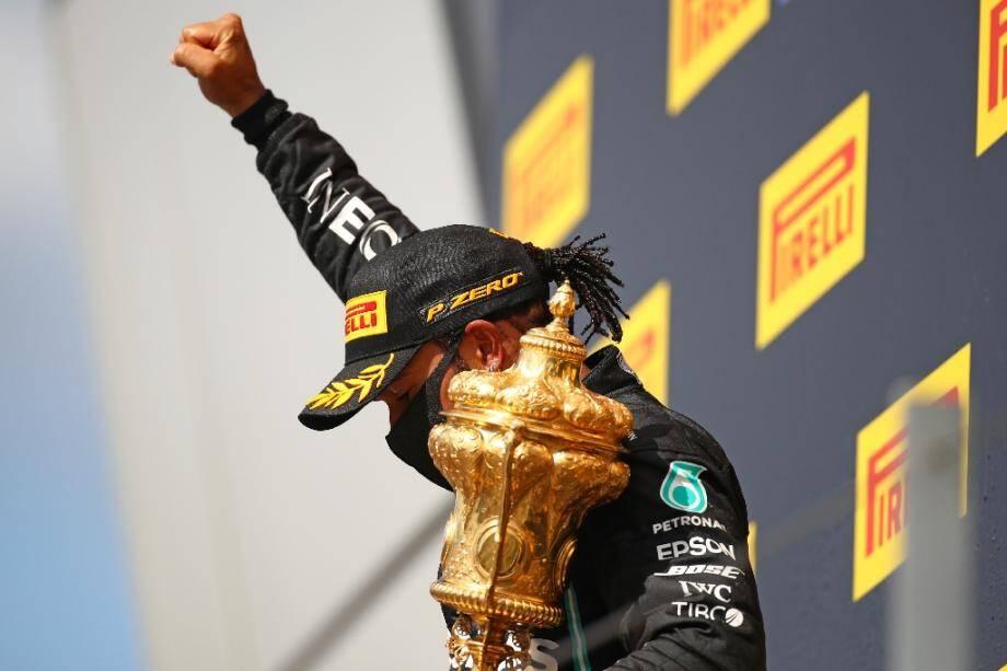 Le Britannique Lewis Hamilton (Mercedes) vainqueur du GP de Grande-Bretagne, à Silverstone, le 2 août 2020