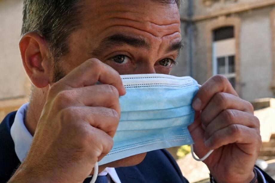 Le ministre de la Santé  Olivier Véran le 21 août 2020 à Florac