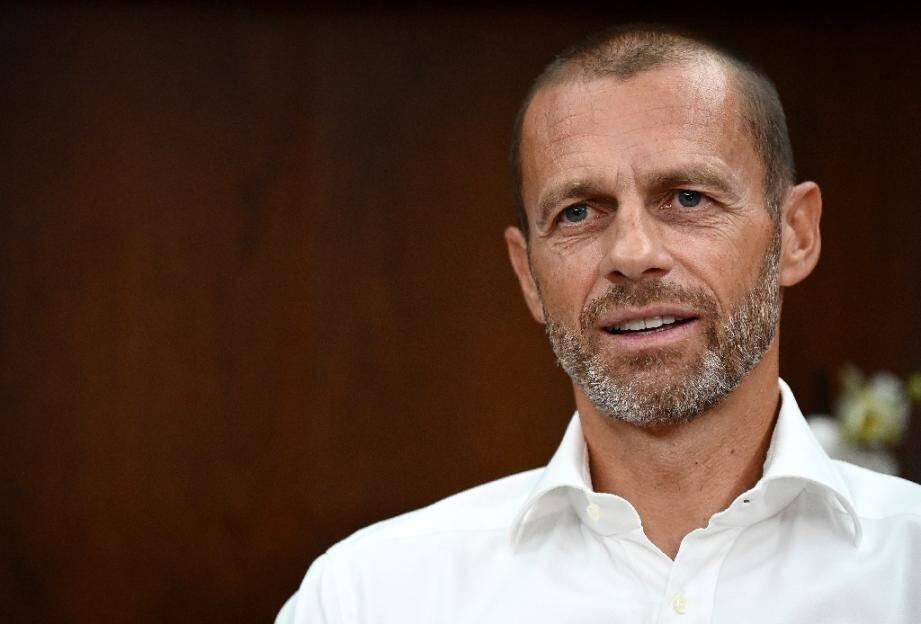 Le président de l'UEFA Aleksander Ceferin lors d'une interview à l'AFP, le 13 août 2020 à Lisbonne
