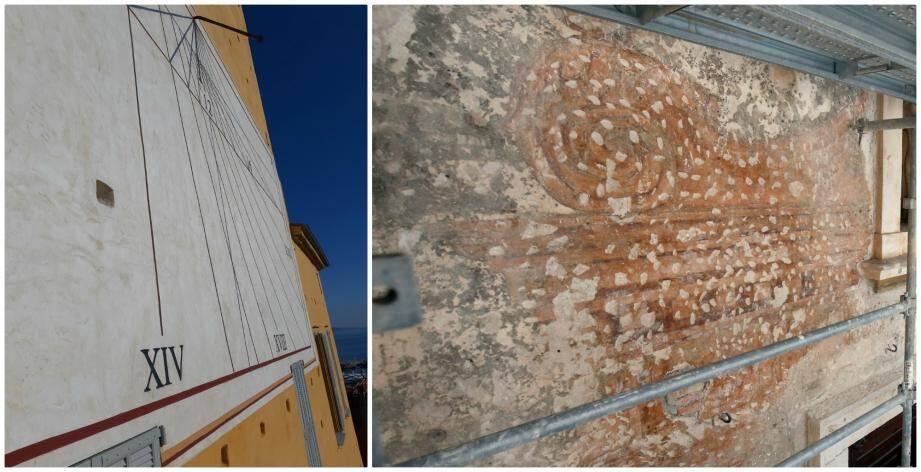 Le cadran (à gauche) a été découvert en 1995 et mesure environ 50m². La fresque, quant à elle, a été retrouvée en 2018 (à droite).