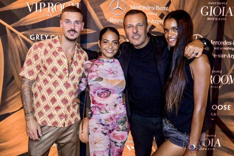 Jean-Roch et  Anaïs Monory ont accueilli en couple Matt Pokora et Christina Milian à La Gioia, à Saint-Tropez.