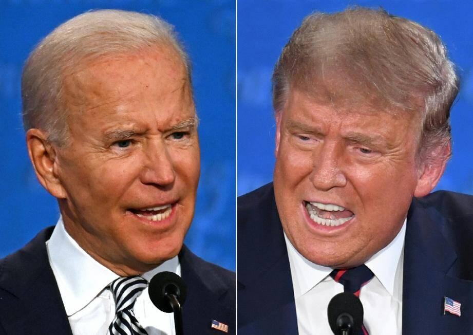 Le président américain Donald Trump et l'ancien vice-président Joe Biden lors de leur premier débat à Cleveland, dans l'Ohio, le 29 septembre 2020
