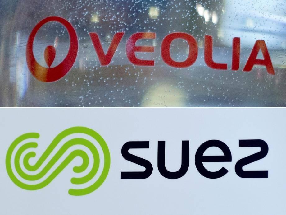 Combo des logos de Suez et Veolia, le 14 septembre 2020