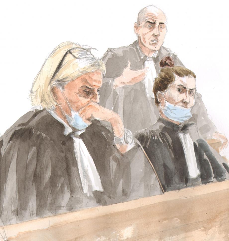 Malgré les efforts de leurs avocats, le trio marseillais a écopé de 5 à 13 ans de prison.(Croquis Rémi Kerfridin)