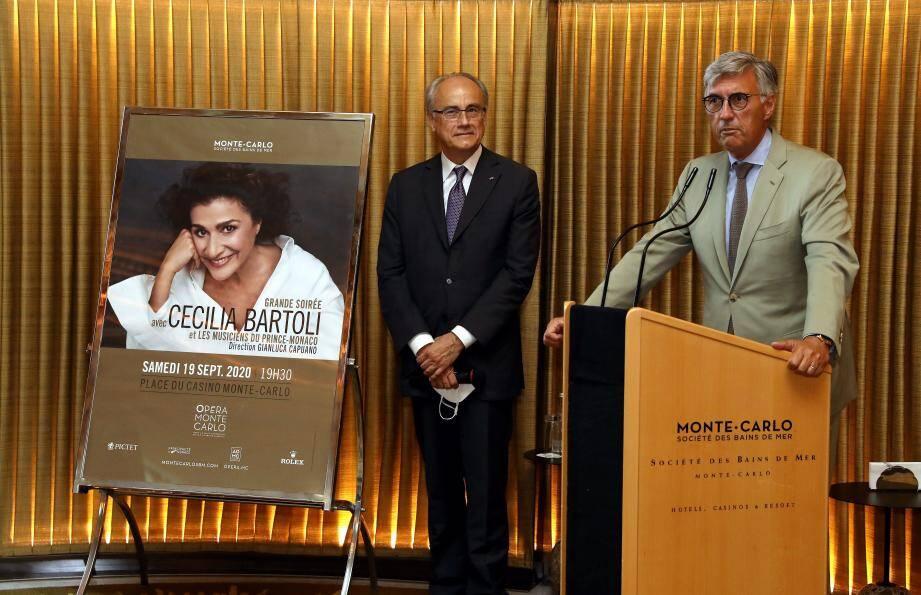 Jean-Luc Biamonti et Jean-Louis Grinda ont annoncé le concert de Cecilia Bartoli lors d'une conférence de presse lundi après-midi.