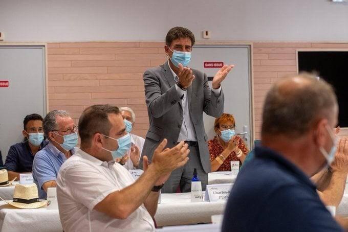 Charles-Ange Ginésy, président du Département, lors de sa réélection à la tête de la communauté des communes « Alpes d'Azur », en juillet.