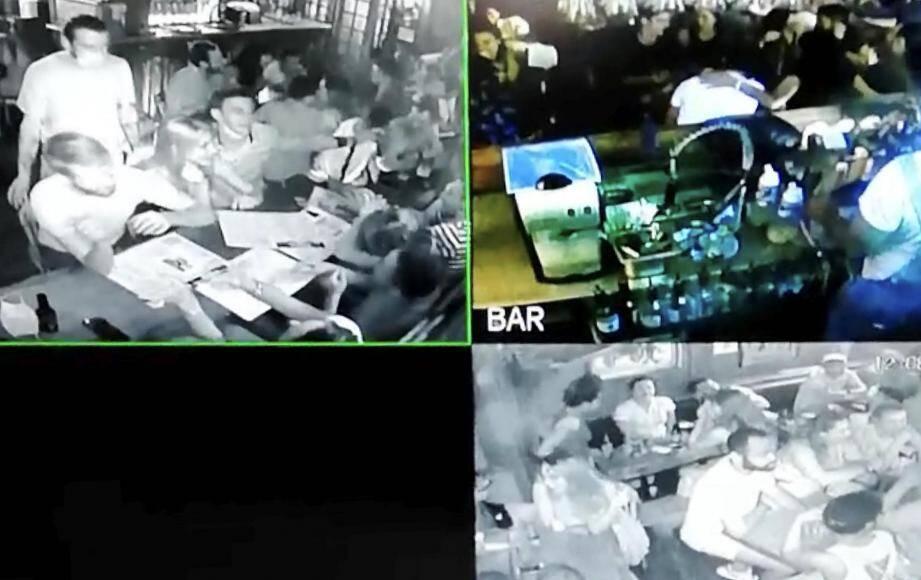 Sur les images des caméras de surveillance du pub L'Oxford dans le Vieux-Nice, personne au comptoir dans la nuit de samedi à dimanche. « Les process sanitaires sont scrupuleusement respectés depuis la réouverture en juin », explique le gérant.(DR)