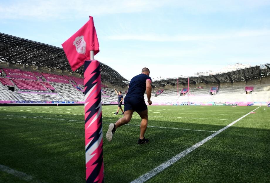 Un joueur du Stade français à l'entraînement le 11 juin 2020 à Paris