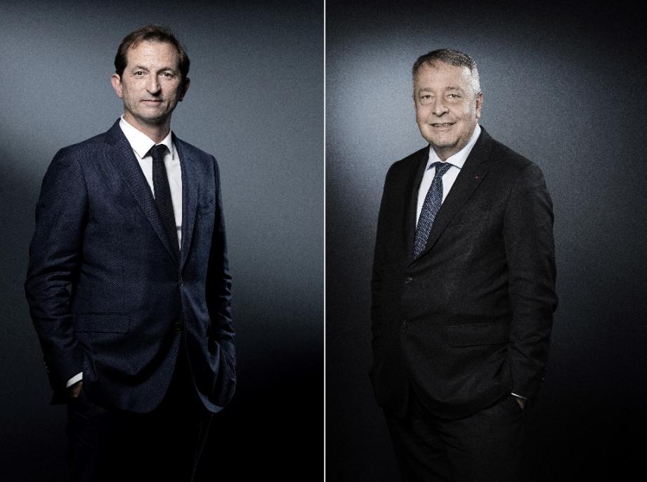 Photomontage réalisé le 3 septembre 2020 des portraits du directeur général de Suez, Bertrand Camus (G) posant le 14 novembre 2019 à Paris et et de celui du PDG de Veolia Antoine Frérot photographié le 10 janvier 2018 à Paris
