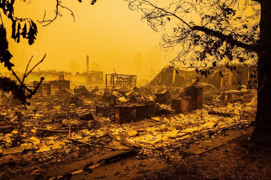 Les ruines d'une école primaire partie en fumée après le passage de l'incendie Santiam, à Gates, dans l'Oregon, le 10 septembre 2020