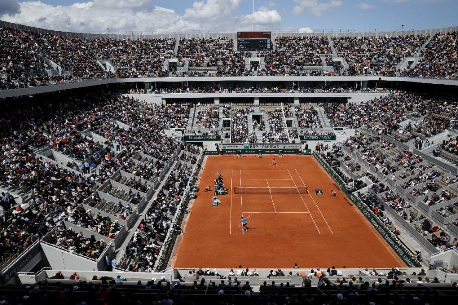 Vue aérienne du court central Philippe Chatrier de Roland-Garros, le 8 juin 2019.