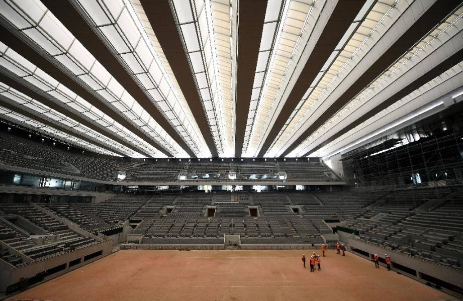 Le court central Philippe Chatrier de Roland-Garros, à Paris, le 5 mai 2020